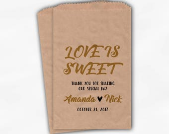 Love Is Sweet Wedding Candy Buffet Treat Bags - Special Day Personalized Favor Bags in Gold and Black - Set of 25 Kraft Paper Bags (0204)