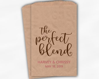 The Perfect Blend Favor Bags - Brown and Pink Personalized Wedding Favor Bags for Coffee Beans with Names and Date - Custom Kraft Paper Bags