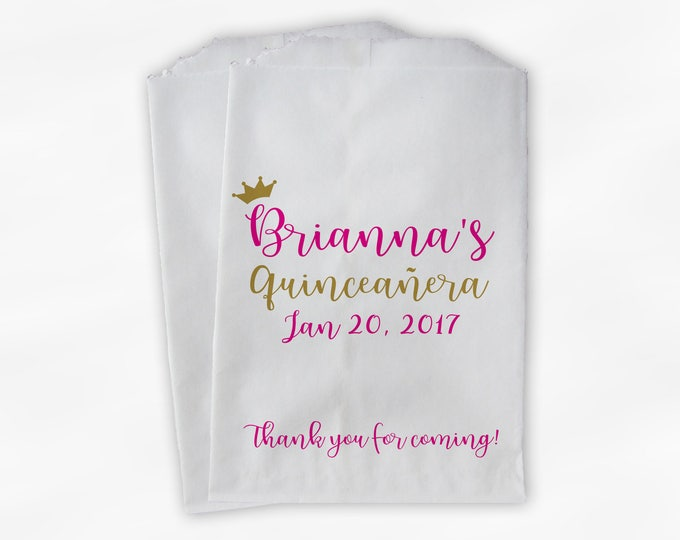 Featured listing image: Quinceanera Birthday Personalized Candy Buffet Bags with Crown - Hot Pink and Gold Thank You Custom Favor Bags - 25 Paper Treat Bags (0207)