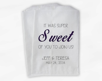 Super Sweet of You to Join Us Wedding Candy Buffet Treat Bags - Purple and Black Personalized Favor Bags with Names and Date (0058)