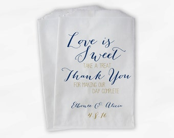 Love Is Sweet Our Day Complete Wedding Candy Buffet Treat Bags - Handwritten Favor Bags in Navy and Gold - Custom Paper Bags (0169)
