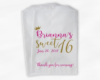 Sweet 16 Birthday Personalized Candy Buffet Bags with Crown - Hot Pink and Gold Thank You Custom Favor Bags - 25 Paper Treat Bags (0207)