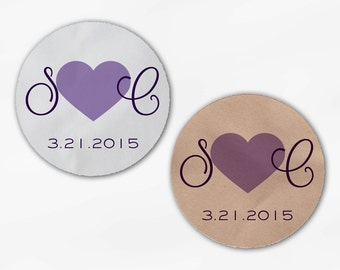 Initials and Heart Wedding Favor Stickers - Shades of Purple Custom Candy Buffet White, Kraft Round Labels for Bag Seals, Envelopes (2021)