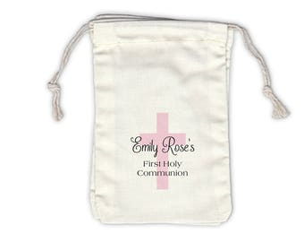 First Communion Cross Cotton Favor Bags for Religious Ceremony in Black and Pink - Ivory Fabric Drawstring Bags - Set of 12 (1006)