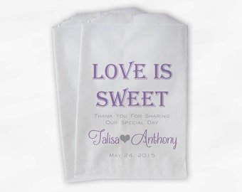 Love Is Sweet Wedding Candy Buffet Treat Bags - Personalized Favor Bags in Lavender and Gray - Custom Paper Bags (0069)