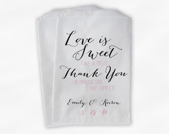 Love Is Sweet Our Day Complete Wedding Candy Buffet Treat Bags - Handwritten Favor Bags in Black and Pink - Custom Paper Bags (0169)