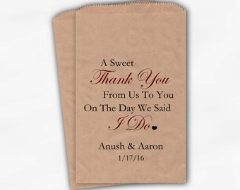 Sweet Thank You Wedding Candy Buffet Kraft Paper Treat Bags - Dark Red Personalized Favor Bags with Couple's Names and Wedding Date (0054-6)