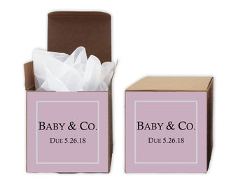 Baby Shower Favor Boxes in Pink - Baby & Co. Set of 12 Personalized Treat Containers with Stickers for Favors, Gifts - Kraft Boxes