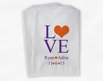 Personalized Candy Buffet Bags - Love and Hearts Custom Favor Bags for Wedding in Purple and Orange - Paper Treat Bags (0015)