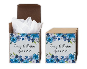 Wedding Favor Boxes - Blue Watercolor Flowers Set of 12 Personalized Treat Containers with Stickers for Favors, Gifts - Kraft Brown Boxes