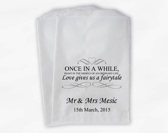 Wedding Favor Bags for Candy Buffet - Love Gives Us A Fairytale Black and Gray Personalized Paper Treat Bags (0092)