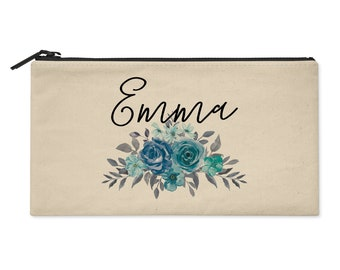 Personalized Cosmetic Bag with Watercolor Flowers in Teal Blue and Gray - Use as Makeup Pouch, Pencil Bag, Clutch