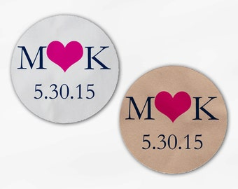 Initials & Heart Wedding Favor Stickers - Navy and Hot Pink Custom White Or Kraft Round Labels for Bag Seals, Envelopes, Mason Jars (2004)