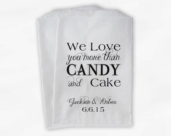 We Love Candy and Cake Treat Bags - Custom Black and White Wedding Favor Bags - Candy Buffet Paper Treat Bags (0142)