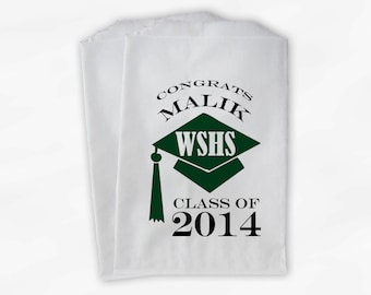 2018 Graduation Cap Personalized Candy Buffet Bags - Set of 25 Dark Green High School Grad Party Favor Bags in School Colors (0060)