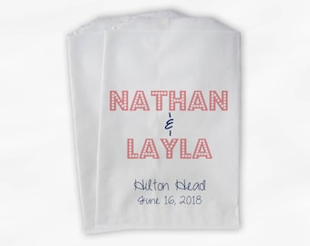 Names in Lights Favor Bags - Navy and Rose Custom Candy Buffet Favor Bags for Wedding, Birthday, Shower - Set of 25 Paper Treat Bags (0212)
