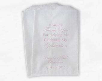 Graduation Celebration Favor Bags - 2018 Sweet Thank You Custom Party Favor Bags - Set of 25 Light Pink Pink Paper Treat Bags (0138)