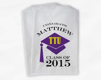 2018 Graduation Cap Personalized Candy Buffet Bags - Set of 25 Purple & Yellow High School Grad Party Favor Bags in School Colors (0060)