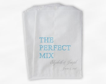The Perfect Mix Candy Buffet Treat Bags - Light Blue & Gray Personalized Wedding Favor Bags with Names and Date - Custom Paper Bags (0178)