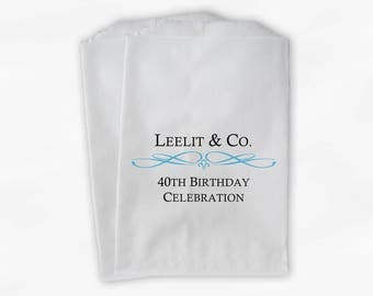 Custom Birthday Party Personalized Candy Buffet Paper Treat Bags - 40th Birthday Favor Bags with Name and Date - Set of 25 Bags (0044)
