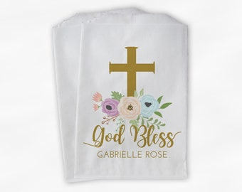 God Bless Flower Favor Bags - First Communion, Baptism or Religious Party Custom Favor Bags - Set of 25 Gold and Pastel Paper Treat Bags
