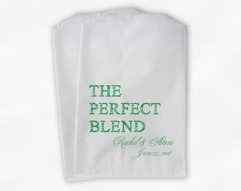 The Perfect Blend Coffee Favor Bags - Green Personalized Wedding Favor Bags with Names and Date - Custom Paper Bags (0219)