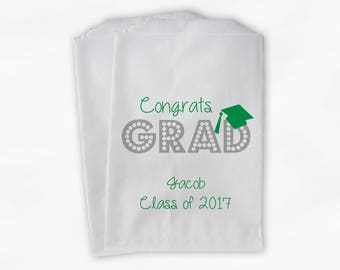 2018 Congrats Grad Graduation Party Personalized Candy Buffet Bags - Set of 25 Green High School Favor Bags in School Colors (0191)