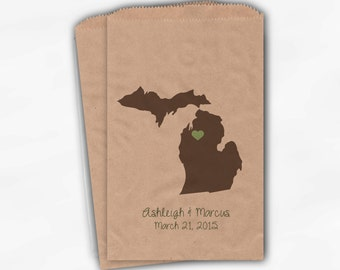Michigan Home State Wedding Candy Buffet Treat Bags - Kraft Paper Favor Bags in Coffee, Sage with Names and Date - Custom Paper Bags (0121)