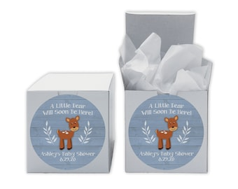 A Little Deer Baby Shower Favor Boxes in Light Blue - Set of 12 Personalized Treat Containers with Round Stickers - White Boxes