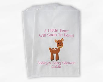 A Little Dear Will Soon Be Here Baby Shower Favor Bags - Baby Deer Boy or Girl Custom Treat Bags for Baby Shower - 25 Paper Bags (0215)