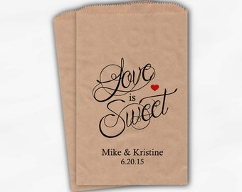 Love Is Sweet Calligraphy Wedding Candy Buffet Treat Bags - Personalized Favor Bags in Black and Red - Custom Kraft Paper Bags (0122)