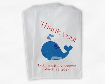 Blue and Red Whale Baby Shower Favor Bags - Personalized Boy or Girl Custom Treat Bags for Baby Shower - 25 Paper Bags (0019)