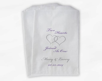 Personalized Candy Buffet Bags - Purple and Silver Two Hearts Become One Custom Favor Bags for Wedding - Paper Treat Bags (0009)
