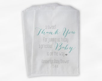 Sweet Thank You Baby Shower Candy Buffet Treat Bags - Light Teal and Gray Personalized Favor Bags - Set of 25 Bags