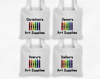 Crayon Art Party Mini Tote Personalized Party Favor Bags for Art Supplies - Set of 4 Custom Gift Bags - Reusable Tote Bags