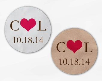 Initials and Heart Wedding Favor Stickers - Fuchsia & Brown Custom White Or Kraft Round Labels for Bag Seals, Envelopes, Mason Jars (2004)