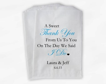 Sweet Thank You Wedding Candy Buffet Treat Bags - Turquoise and Black Personalized Favor Bags with Couple's Names and Wedding Date (0054-6)