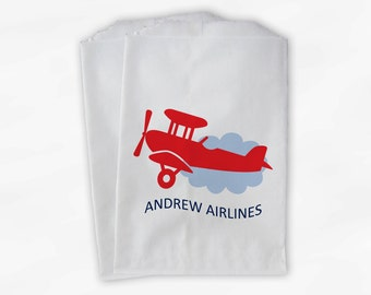 Personalized Airplane Party Candy Favor Bags - Airlines Custom Treat Bags for Kids - 25 Paper Bags (0018)
