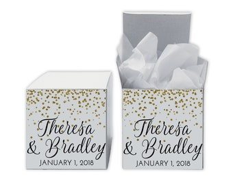 Glitter Confetti Wedding Favor Boxes - Set of 12 Personalized Treat Containers with Stickers for Party Favors, Gifts - White Tuck Top Boxes