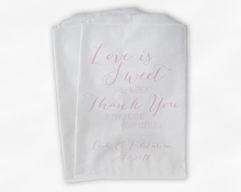 Love Is Sweet Our Day Complete Wedding Candy Buffet Treat Bags - Handwritten Favor Bags in Baby Pink - Custom Paper Bags (0169)