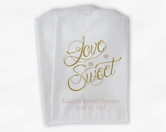 Love Is Sweet Calligraphy Bridal Shower Candy Buffet Treat Bags - Personalized Favor Bags in Light Pink and Gold - 25 Paper Bags (0122)