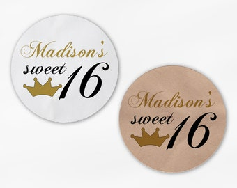 Sweet 16 Birthday Party Favor Stickers -Black and Gold with Crown Custom White Or Kraft Round Labels for Bag Seals, Envelopes, Mason Jars