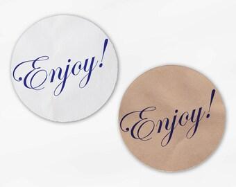 Enjoy Wedding Favor Stickers - Custom Blue Violet Candy Buffet White Or Kraft Round Labels for Bag Seals, Envelopes, Mason Jars (2008)