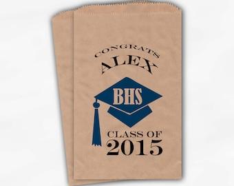 2019 Graduation Cap Personalized Candy Buffet Bags - Set of 25 Medium Blue High School Grad Custom Kraft Favor Bags in School Colors