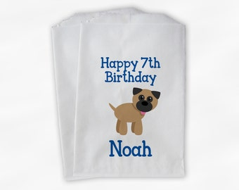 Puppy Birthday Party Candy Favor Bags - Blue Boys Custom Doggy Bags for Kids - 25 Paper Bags (0189)