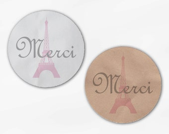 Merci Wedding Favor Stickers - Eiffel Tower Candy Buffet Pink and Gray Round Labels for Bag Seals, Envelopes, Mason Jars (2009)