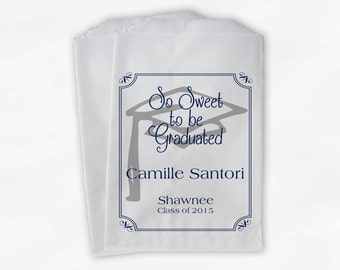 Graduation Favor Bags - 2018 Sweet Celebration Party Custom Favor Bags - Set of 25 Navy Blue Paper Treat Bags (0076)