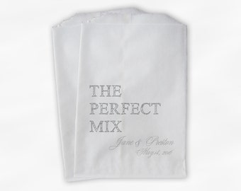 The Perfect Mix Candy Buffet Treat Bags - Light Gray Personalized Wedding Favor Bags with Names and Date - Custom Paper Bags (0178)