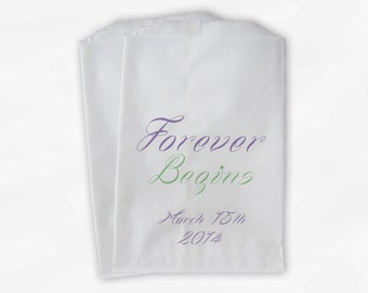 Forever Begins Favor Bags in Lavender and Sage - Custom Candy Buffet Bags with Wedding Date - Paper Treat Bags (0016-2)