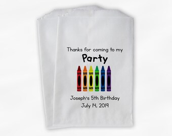 Crayon Art Birthday Party Candy Buffet Treat Bags - Rainbow Personalized Favor Bags - Set of 25 Kids Birthday Thank You Custom Paper Bags